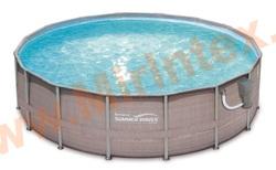 Summer Escapes Бассейн каркасный круглый 549х132 см (фильтр-насос 5,7м3 220В, лестница, настил, тент, набор для чистки DELUXE, скиммер)
