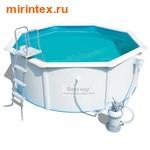 Bestway Бассейн со стальными стенкам 300х120 см (песчаный фильтр-насос 2,0 м3/ч, настил, лестница, скиммер)