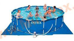 INTEX Бассейн каркасный круглый Intex Metal Frame 457х84 см (фильтр-насос 2 м3, лестница, настил, тент + DVD инструкция)