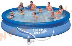 INTEX Бассейн надувной 457х84см (с картриджным фильтр-насосом 220 В)