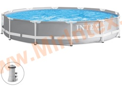 INTEX Бассейн каркасный круглый 366х76 см (с фильтр-насосом 220В)