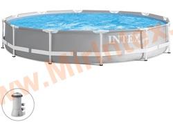 INTEX Бассейн каркасный круглый Intex Prism Frame 366х76 см (с картриджным фильтр-насосом 2006 л/ч)