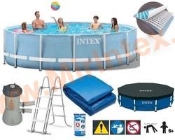 INTEX Бассейн каркасный круглый 457х84 см (видео,фильтр-насос 220В, лестница, тент, настил)