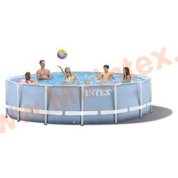 INTEX Бассейн каркасный круглый Intex 549х122 см (видео, фильтр-насос 220В, лестница, тент, настил) Prism Frame Pool