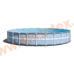INTEX Бассейн каркасный круглый Intex 732х132 см (видео, фильтр-насос 220В, лестница, тент, настил) Prism Frame Pool