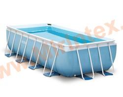 INTEX Бассейн каркасный прямоугольный 400х200х100 см (видео, фильтр-насос 220В, лестница)