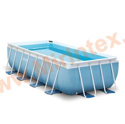 INTEX Бассейн каркасный прямоугольный 488х244х107 см (видео, фильтр-насос 220В, лестница, тент, настил)