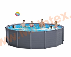 INTEX Бассейн каркасный круглый 478х124 см Graphite Grey Panel Pools (видео, песочный фильтр-насос 4,5m3, лестница, тент, настил)