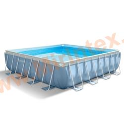 INTEX Бассейн каркасный прямоугольный 427х427х107 см (видео, фильтр-насос 220В, лестница,тент, подстилка)
