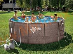 Summer Escapes Бассейн каркасный круглый 366х132 см (песчаный фильтр-насос 4,1 м3/ч 220В, лестница, настил, тент, набор для чистки DELUXE, скиммер)