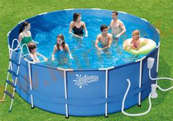 Summer Escapes Бассейн каркасный круглый 457х132 см (песчаный фильтр-насос 4,1 м3/ч 220В, лестница, настил, тент, набор для чистки DELUXE, скиммер)
