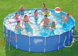 Summer Escapes Бассейн каркасный круглый 488х132 см (песчаный фильтр-насос 5,1 м3/ч 220В, лестница, настил, тент, набор для чистки DELUXE, скиммер)