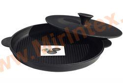 Эколит Сковорода цыплята-табака с прессом 400х40 мм (чугун)