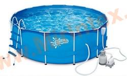 Summer Escapes Бассейн каркасный круглый 366х122 см (песчаный фильтр-насос 4,1м3/ч 220В, лестница, настил, тент, набор для чистки DELUXE, скиммер)