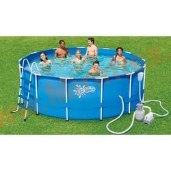 Summer Escapes Бассейн каркасный круглый 396х132 см (песчаный фильтр-насос 4,1м3/ч 220В, лестница, настил, тент, набор для чистки DELUXE, скиммер)