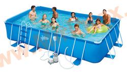 Summer Escapes Бассейн каркасный прямоугольный 549х274х132см (песчаный фильтр-насос 5,1 м3/ч 220В, лестница, настил, тент, набор для чистки DELUXE, скиммер)
