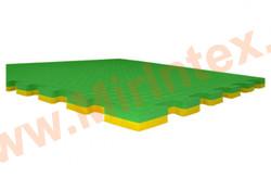 "Будо-мат ""С креплением ласточкин хвост"" 50х50х1,8см (Зелёно-желтые)"