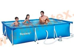Bestway Бассейн каркасный прямоугольный 300х201х66 см с фильтр-насосом 1250 л/ч