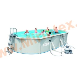 Bestway Бассейн со стальными стенками 610х360х120 см (песчаный фильтр-насос 3,8 м3/ч, настил, лестница, скиммер)