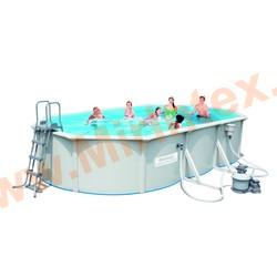 Bestway Бассейн со стальными стенками 740х360х120 см (песчаный фильтр-насос 5,6 м3/ч, настил, лестница, скиммер)