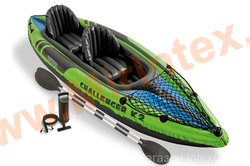 INTEX Байдарка Challenger К2 351х76х38 см ( аллюминевые весла, ручной насос)