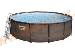 Bestway Бассейн каркасный круглый Power Steel Deluxe 427х107 см (подвесной фильтр-насос, лестница,настил,тент)