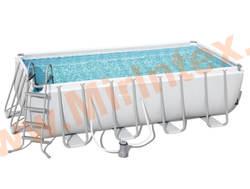 Bestway Бассейн каркасный прямоугольный Power Steel 488х244х122 см (фильтр-насос, лестница, настил, тент)