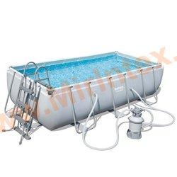 Bestway Бассейн каркасный прямоугольный Power Steel 488х244х122 см (песчаный фильтр-насос, лестница, настил, тент)