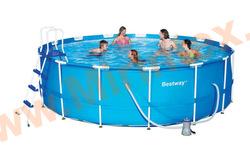 Bestway Бассейн каркасный круглый Steel Pro MAX 457х122 см (фильтр-насос, лестница, настил, тент)
