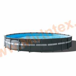 INTEX Бассейн каркасный круглый Ultra XTR Frame Pools 732х132 см (песчаный фильтр-насос 10,5 куб/ч, лестница, тент, настил)