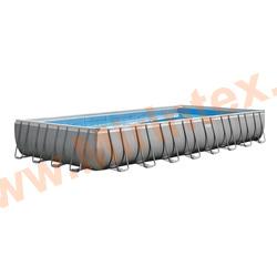 INTEX Бассейн каркасный прямоугольный Ultra XTR Rectangular Frame Pools 732х366х132 см (песчаный фильтр-насос 7,9 куб/ч, лестница, тент, настил)