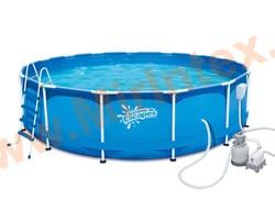 Summer Escapes Бассейн каркасный круглый 457х122 см (песчаный фильтр-насос 4,1 м3 220В, лестница, настил, тент, набор для чистки DELUXE, скиммер)