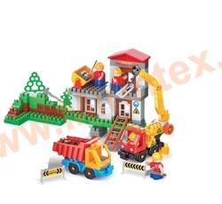 """Bauer Детский конструктор серия """"Стройка"""" строительная площадка с автокраном, грузовиком и трактором"""""""