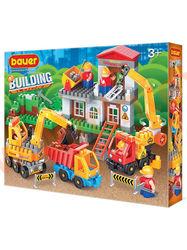 """Bauer Детский конструктор серия """"Стройка"""" строительная площадка с автокраном, грузовиком и бульдозером"""""""