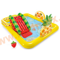 """INTEX Игровой центр-бассейн Фруктовое удовольствие """"Fun'n Fruity Play Center"""" 244х191х91 см.,(с горкой, с мячиками) от 3-х лет."""
