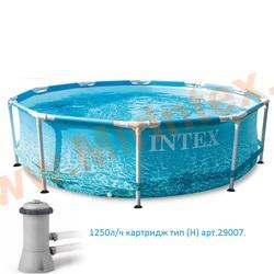 """INTEX Каркасный бассейн Metal Frame 305х76см """"Beachside"""" (с картриджным фильтр-насосом 1250л/ч)"""