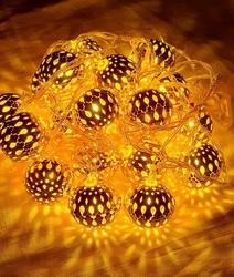 Гирлянда золотые шары 40 мм (4м/40 Led)белый/теплый)