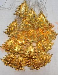Гирлянда золотые елочки 65 мм (4м/40 Led) белый/теплый