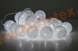 Гирлянда шарики из ниток Ø 3.5 см/4 м. белая