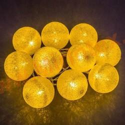 Гирлянда шарики из ниток Ø 3.5 см/4 м. желтая