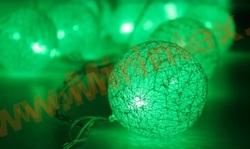 Гирлянда шарики из ниток Ø 3.5 см/4 м. зеленая