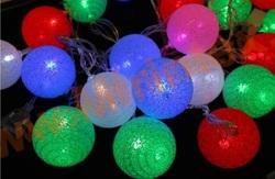 Гирлянда шарики из ниток Ø 6 см/4 м. разноцветная