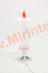 Свеча светодиодная новогодняя декоративная настольная на ножке 25 см.(серебро)