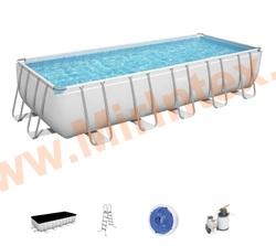 Bestway Бассейн каркасный Power Steel 640х274х132см, песочный фильтр-насос 5678л/ч, лестница, тент.