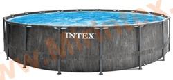 INTEX 26744 Бассейн каркасный Prism Frame Greywood, 549 х 122 см, картриджный фильтр-насос 5678 л.ч, лестница, тент, подстилка