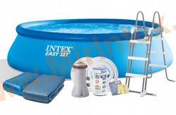 INTEX Бассейн надувной 457х107см (с картриджным фильтр-насосом 220 В, лестница, настил, тент)
