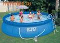 INTEX Бассейн надувной 457х107см (фильтр-насос 220 В, лестница, настил, тент, сачок, скиммер)