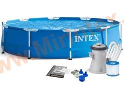 INTEX Бассейн каркасный круглый Intex Metal Frame 305х76 см (видео,фильтр-насос 220В)