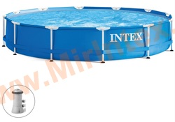 INTEX Бассейн каркасный круглый 366х76 см (видео,фильтр-насос 220В)