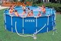 INTEX Бассейн каркасный круглый Intex 457х107 см (видео, фильтр-насос 220В, лестница, настил, тент) Metal Frame Pool